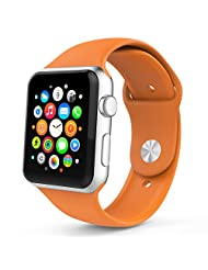 Apple Watch Band, MoKo Soft Silicone Replacement Sport Band for 38mm Apple Watch Models, Grapefruit (3 Pieces of Bands Included for 2 Lengths, Not Fit 42mm version 2015)