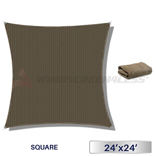 Windscreen4less Metal Spring Reinforcement Large Sun Shade Sail Square Heavy Duty Strengthen Durable Perfect for Outdoor Canopy UV Block Fabric 5 Year Warranty 24 x 24 -Brown