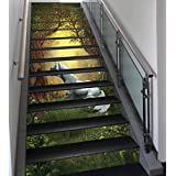 Stair Stickers Wall Stickers,13 PCS Self-adhesive,Unicorn,Enchanted Forest Fantasy Magical Willow Trees Wildflowers Woodland Animal Folklore,Green White,Stair Riser Decal for Living Room, Hall, Kids R