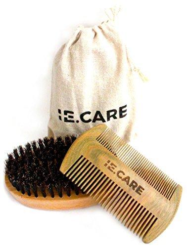 IE.CARE Beard Brush & Comb Set | 100% Boar Bristle Wooden Brush + Handmade Scented Fine & Coarse Tooth Sandalwood Beard Comb + Muslin Style Cotton Gift Bag Set
