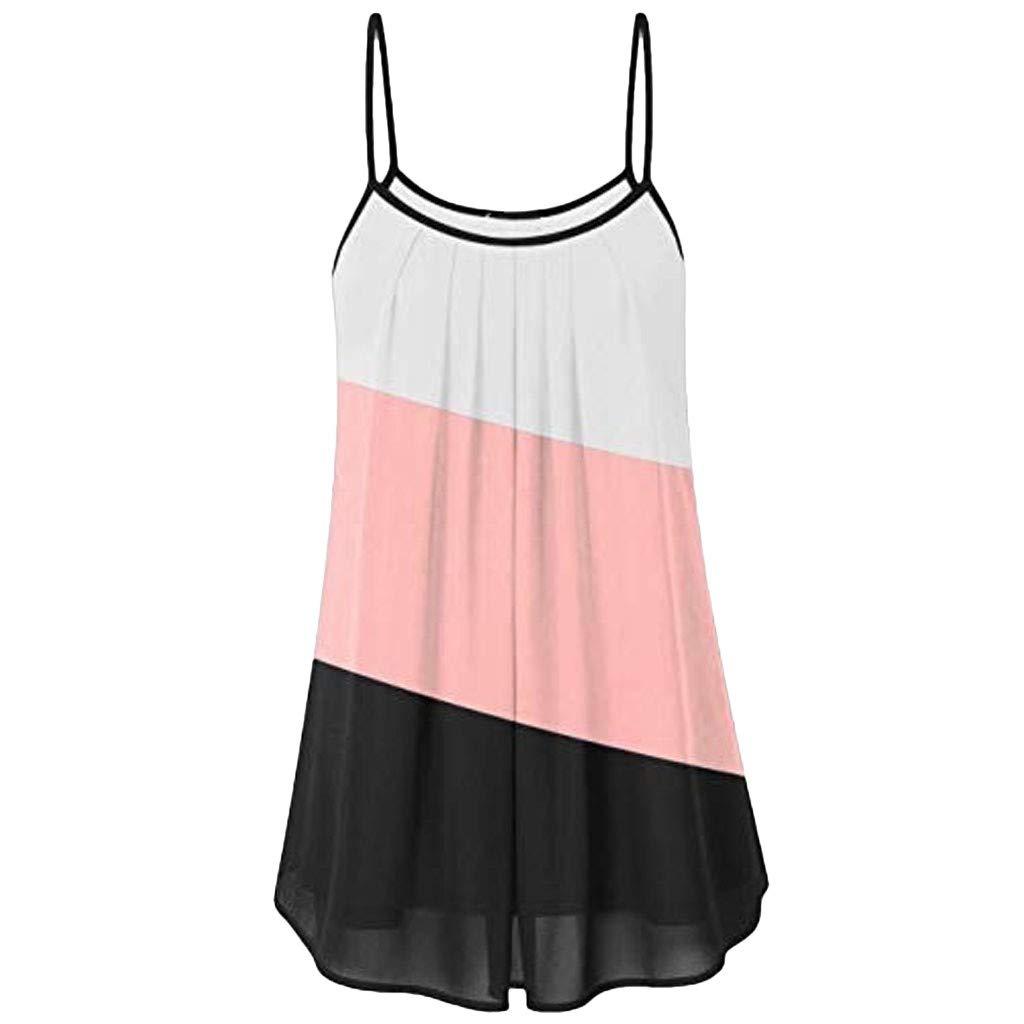 Tank Tops for Women Summer Loose Wrinkled Oblique Stripe Sleeveless Vest Blouse Casual T Shirt Pink