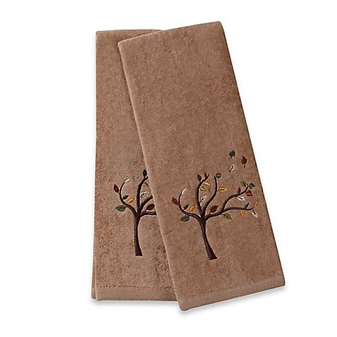 Hand Towels Embroidered Tree With Multicolored Leaves Made of Cotton Set of (Garnet Hill Kids Sale)