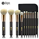 Make up Brushes, FEIYAN 11pcs Premium Cosmetic Makeup Brush Set for Foundation Blending Blush Concealer Eye Shadow, Goat Synthetic Hair, Travel Zipper Pouch Included, Golden Black