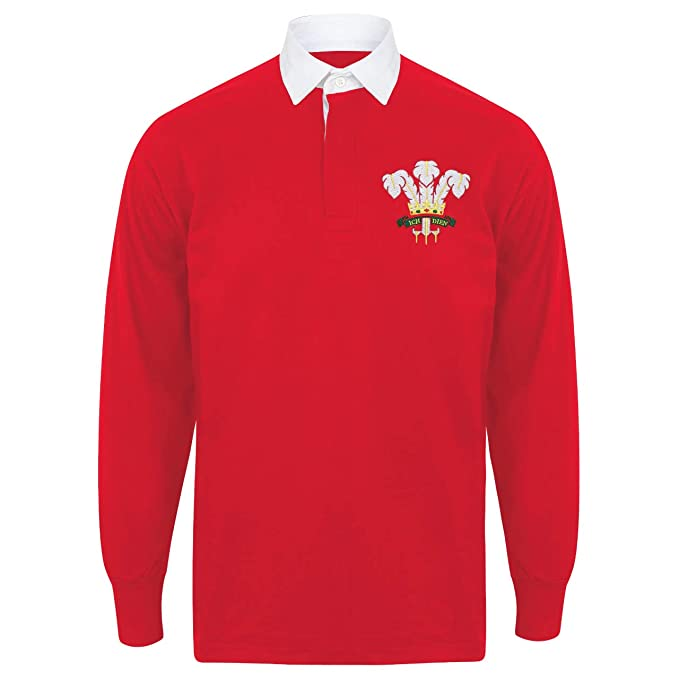 516ca72c724 Printmeashirt Kid's Personalised Classic Embroidered Wales Cymru Crest Long  Sleeved Rugby Shirt: Amazon.co.uk: Clothing