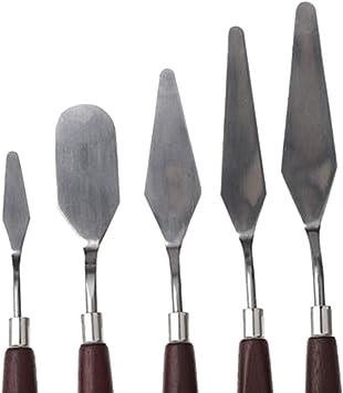 ULTNICE 5pcs Esp/átula de cuchillo de paleta de pintura al /óleo de acero Set con mango de madera marr/ón rojizo