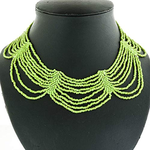 Elegant Cascading Lime Green Seed Beads Necklace YE-3296 Beaded Sterling Silver 18' Necklace