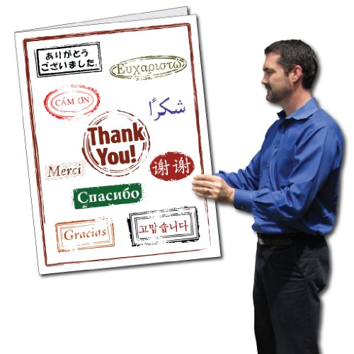 VictoryStore Jumbo Greeting Cards:  Giant Thank You Card (Thank you in Lots of Languages),  2' x 3' Card with Envelope
