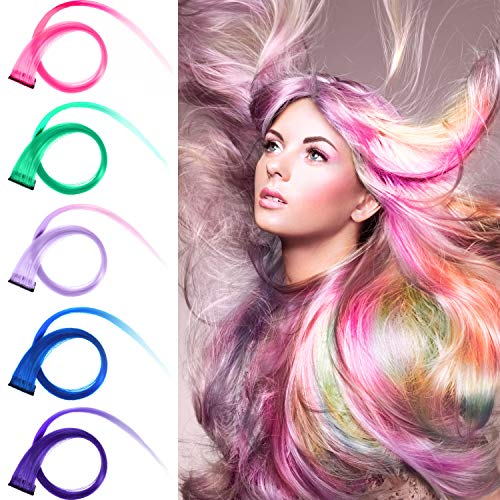 24 Pieces 24 Colors Multi-Colors Straight Wave Clip on in Hair Extensions Hair Pieces Colored Party Highlights DIY Hair Accessories Extensions 20 Inches Long Hair for Girls Women