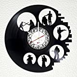 Star Wars Trilogy Handmade Vinyl Record Wall Clock – Get Unique Home Room or Office Wall Decor – Gift Ideas for Men and Women – Fantasy Heroes Unique Modern Art Design