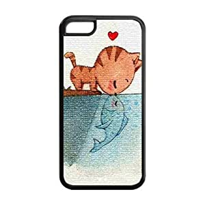 5C Phone Cases, Cat in Love with Fish Hard TPU Rubber Cover Case for iPhone 5C
