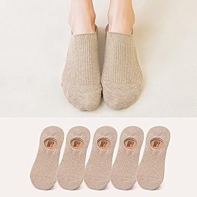 Maivasyy 5 paires de chaussettes coton chaussettes d'été mignon voile invisible d'été faible friction Silicone Section Fine kaki, chaussettes,