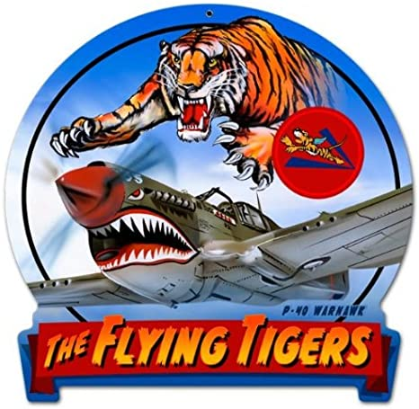 "3-D P-40 /""Flying Tigers/"" Metal Sign Hand Made in the USA with American Steel"