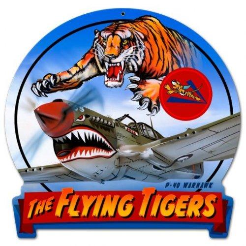 Flying Tiger Aviation Round Banner Metal Sign - Garage Art Signs ()