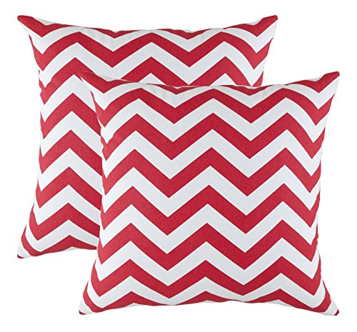 TreeWool Decorative Square Throw Pillowcases Set Chevron Accent 100% Cotton Cushion Cases Pillow Covers (16 x 16 Inches / 40 x 40 cm; Red & White) - Pack of 2 (Decorative Chevron Pillows)