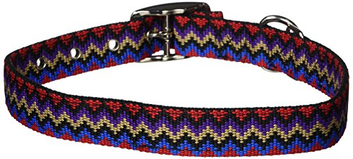 Hamilton Thick Nylon Deluxe Dog Collar, 1-Inch by 24-Inch Double, Weave Multi-Pattern, Black