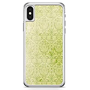 iPhone X Transparent Edge Phone Case Pretty Green Pattern iPhone X Cover with Transparent Frame