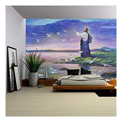 wall26 - Image of Jesus Feeding The Birds at The Seaside, Original Oil Painting on Canvas - Removable Wall Mural | Self-Adhesive Large Wallpaper - 100x144 ()