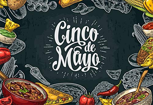 AOFOTO 7x5ft Blackboard Cinco de Mayo Reception Backdrop for Pictures Mexican Festival Celebration Red Pepper Corns Food Music Dancing Party Decor Background for Photography Photo Studio Props Vinyl ()