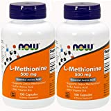 Now Foods L-methionine, 100 Capsules / 500mg (Pack of 2) For Sale