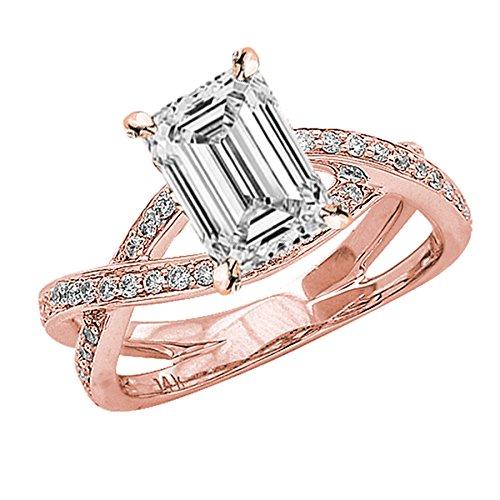 0.77 Carat 14K Rose Gold Eternity Love Criss Cross Twisting Split Shank Emerald Cut Diamond Engagement Ring (F Color VS1 Clarity Center Stones) (Cut 0.77 Emerald Diamond Ct)