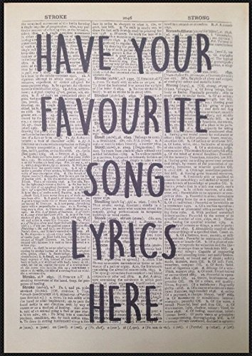 Vintage Wedding First Dance Print Personalised Lyrics Wall Art