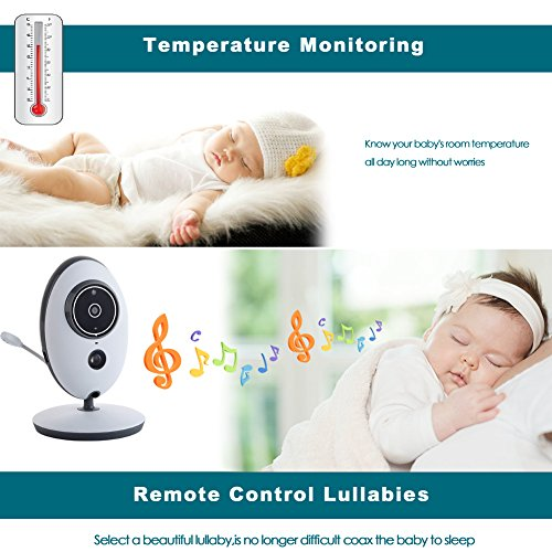 YOOFOSS Baby Monitor Wireless Video with Digital Camera - 24-Hours Standby, Night Vision, 2.4-inch Large Screen, Temperature Monitoring