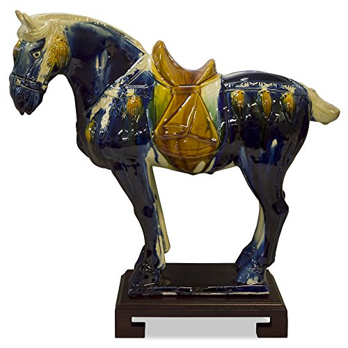 China Furniture Online Porcelain Horse Statue, Tang Dynasty Tri-Color Glaze Standing Horse Ceramic Figurine (Standing Horse Sculpture)
