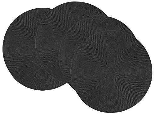 Four Placemats - Now Designs Disko Round Placemats, Set Four, Black