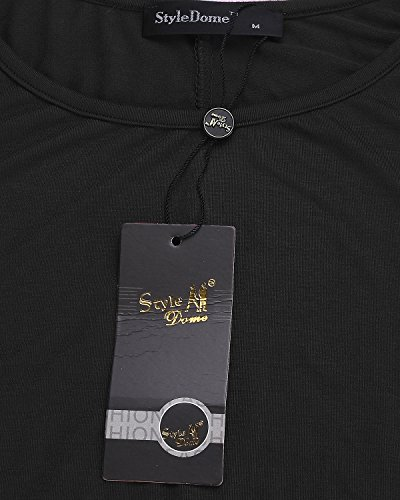 StyleDome Mujer Camiseta Blusa Playa Manga Corta Moda Oficina Elegante Deportiva Negro
