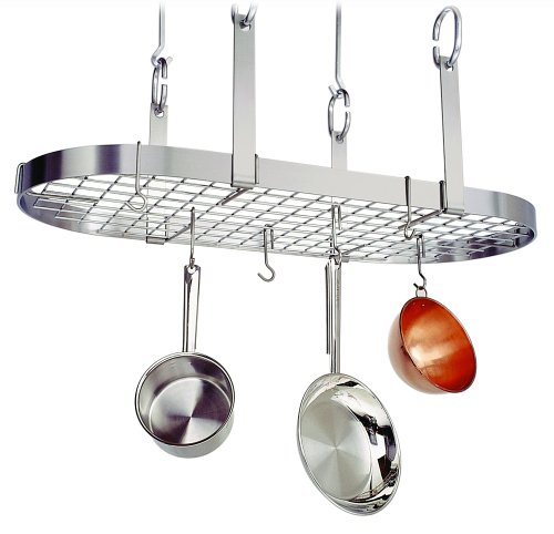 Enclume PR14wg SS Premier 4-Point Oval Ceiling Rack with Grid, Stainless Steel, Stainless Steel