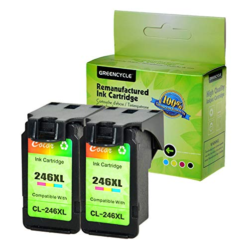 GREENCYCLE Re-Manufactured CL-246XL CL-246 Ink Cartridge Replacement for Canon Pixma MX490 MX492 MG2522 MG2525 MG2920 MG2922 MG2924 MG3020 MG3022 MG3029 TS3120 TS3122 TS202 TS302 (Tri-Color, 2 Pack)