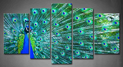 5 Panel Wall Art Blue Beautiful Peacock Painting The Picture Print On Canvas Animal Pictures For Home Decor Decoration Gift piece (Stretched By Wooden Frame,Ready To Hang)