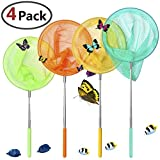 Toys : GeMoor 4 Pack Telescopic Butterfly Nets - Great for Catching Insects Bugs Fishing - Outdoor Tools for Kids Playing - Extendable from 6.8'' to 34'' (Blue Orange Yellow Green)