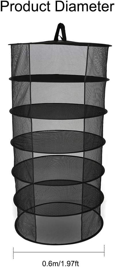 Weehey 6 Strati Cesto Appeso stendino Pieghevole Erba secca Forma di Apertura a Secco Sacchetto essiccatore Maglia Diametro 600mm per Erbe Fiori boccioli Piante