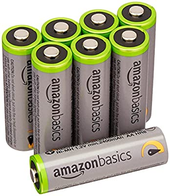 AmazonBasics High Capacity Ni-MH Pre-Charged Rechargeable Batteries, 500 cycles -Packaging May Vary