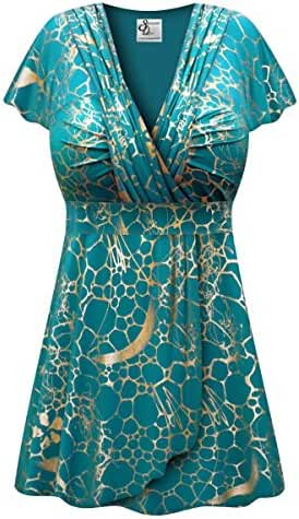 Teal With Gold Metallic Slinky Print Plus Size Supersize MAGIC BABYDOLL Top