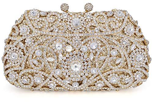 (Crystal Clutch for Women Rhinestone Evening Bag (gold))