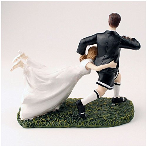 (Cake Decorating Supplies - 1 White Black Resin Bride And Groom Rugby Cake Decoration Ornaments Doll Size 17 8 13.5cm - Jewish Bags Socks Tags Aprins Aprons Covers Napkins Pillow)