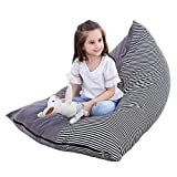 Stuffed Animal Toy Bean Bag Storage Chair, Purple Angel Extra Large Creative Beanbag Cover Triangle Comfy Lounger Toy Organizers and Storage for Kids- Grey/White and Black Stripe, Fits 200L/52 Ga