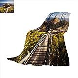 Anhuthree London Digital Printing Blanket Cape Schanck Boardwalk Runs Towards The Sea Rock Formation Victora Australia Print Artwork Image 62'x60' Tan Green Blue