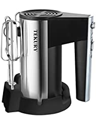 Tekury Hand Mixer 5 Speed Classic Stainless Steel Mixer Ultra Power Electric Mixer with Turbo and Easy Eject Button, Durable Handheld Mixer Includes Sturdy Beaters and Dough Hooks, Silver