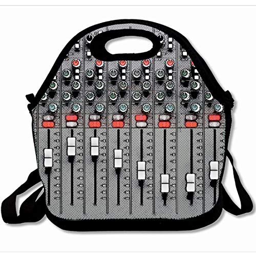 Ahawoso Reusable Insulated Lunch Tote Bag Music Mixer Sound Funny Dream Tuner 10X11 Zippered Neoprene School Picnic Gourmet Lunchbox