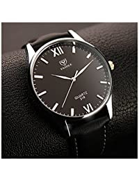 LinTimes Fashion Simple Mens Watch Quartz Analog Business Casual Wristwatch Black Band Black Dial