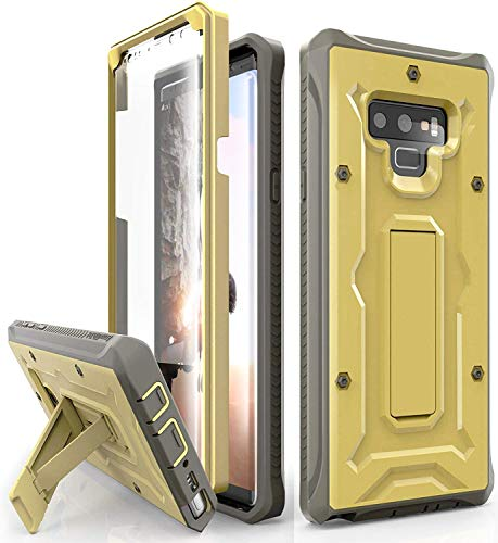 (ArmadilloTek Vanguard Designed for Samsung Galaxy Note 9 Case (2018 Release) Military Grade Full-Body Rugged with Built-in Screen Protector & Kickstand (Gold Olive))