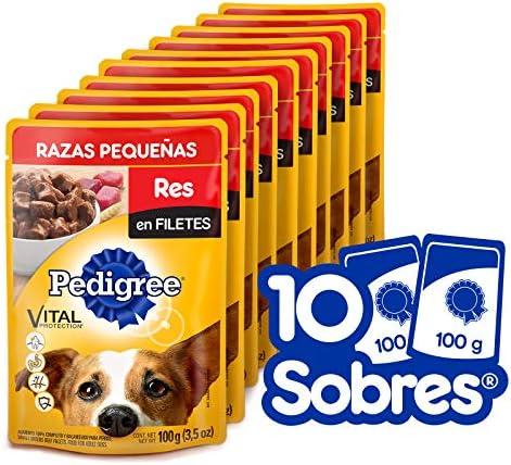 Pedigree Alimento Húmedo Razas Pequeñas Res en Filetes, paquete de 10 sobres 5