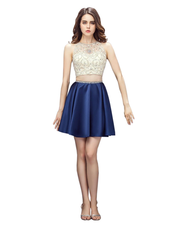 Ikerenwedding Women's Jewel Beaded Crystal Two-piece Above Knee Party Dress