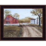 Summer In The Country by Billy Jacobs 15x19 Patriotic 1976 Bicentennial Flag Barn Farm Primitive Folk Art Framed Picture