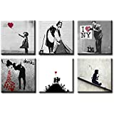 Time4art - Stampe dell'artista BANKSY, 6 stampe su tela, 30 x 30 cm: There is always Hope, Doctor, Love.