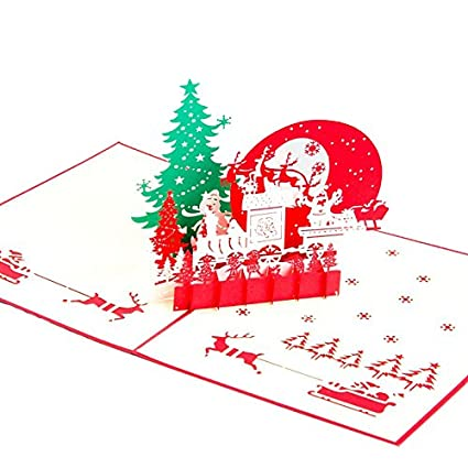 queeni 3d pop up creative christmas eve greeting cards handmade merry christmas thanksgiving post card - Does The Post Office Deliver On Christmas Eve