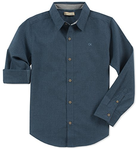 (Calvin Klein Boys' Big Long Sleeve Solid Button Down Shirt, Navy Twist Large (14/16))